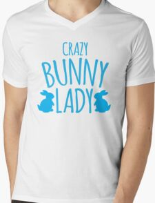 CRAZY Bunny lady Mens V-Neck T-Shirt
