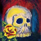 Yellow Rose with Skull Painting by Melisa Fales