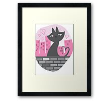 Sweet City kitty on a stone wall Framed Print