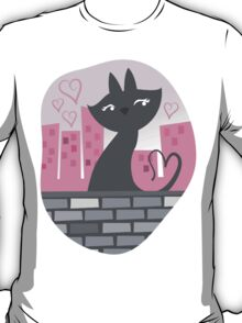 Sweet City kitty on a stone wall T-Shirt