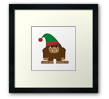 Cute Bigfoot Christmas Elf Framed Print