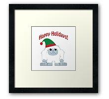 Happy Holidays! Cute Christmas Elf Yeti Framed Print