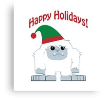 Happy Holidays! Cute Christmas Elf Yeti Canvas Print