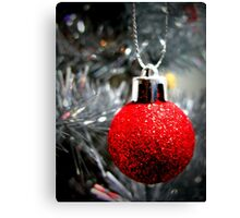 Red Ornament Christmas Card Canvas Print