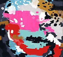 Charlotte - Abstract painting in modern colors gold, mint, navy, pink, blush by charlottewinter