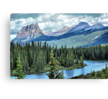 Castle Mountain and Bow River, Banff NP Canvas Print