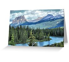 Castle Mountain and Bow River, Banff NP Greeting Card