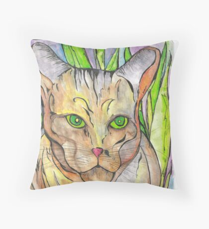 voodoo cat Throw Pillow