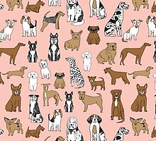 Dogs Dogs Dogs - Pink Background by Andrea Lauren