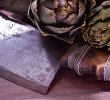 Vintage butchers knife and artichoke still life by lightwanderer
