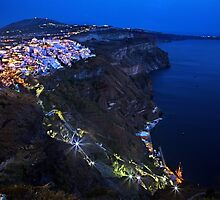 Night falling over the Caldera of Santorini by Hercules Milas