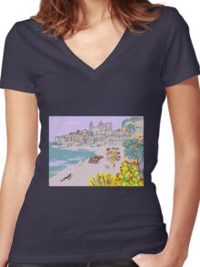 A view of Cefalu' Women's Fitted V-Neck T-Shirt