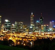 Perth city lights from Kings park by dodgsun