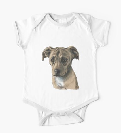 Brown Pit Bull Puppy Drawing One Piece - Short Sleeve