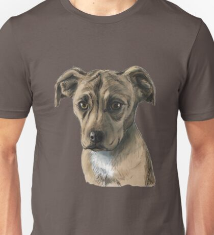 Brown Pit Bull Puppy Drawing Unisex T-Shirt