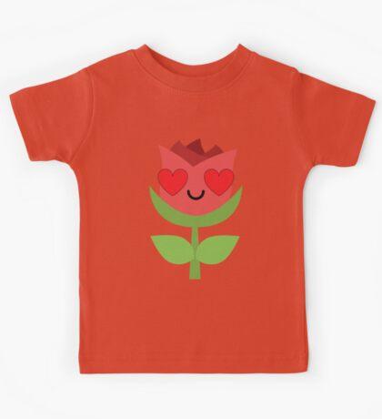 Rose Emoji Love and Heart Eye Kids Tee