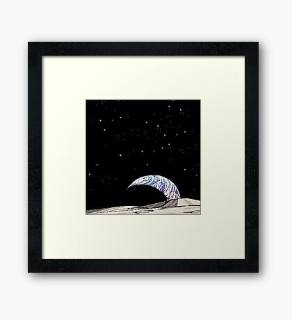 SPACE EARTH pixelart Framed Print