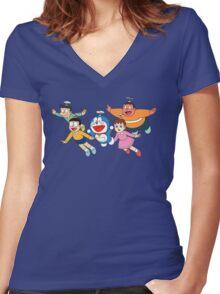Doraemon Nobita Women's Fitted V-Neck T-Shirt