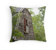 A Turkey Vulture perched on the barn window 2007 Throw Pillow
