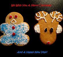 Reindeer and Gingerbread Cookie Christmas Card by Pamela Burger