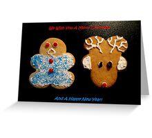 Reindeer and Gingerbread Cookie Christmas Card Greeting Card