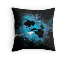 Floating in space - robots in love - Wall.e and Eve Throw Pillow