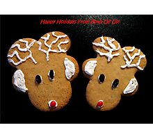 """Gingerbread Reindeer """"From Both"""" Christmas Card Photographic Print"""