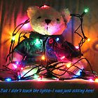 Teddy Bear Wrapped Up in Christmas Lights by Pamela Burger