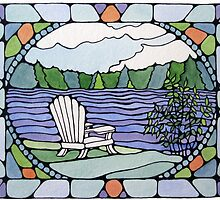 Adirondack Chair on Square Pond by karen pankow