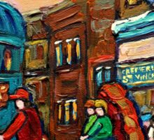 PAINTINGS OF CANADIAN WINTER CITY SCENES OLD MONTREAL BY CANADIAN ARTIST CAROLE SPANDAU Sticker