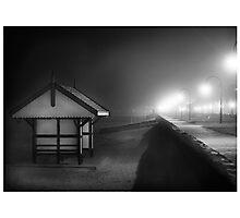 Black & white shed Albert Park Photographic Print