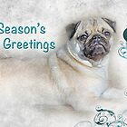 "Pug ""Season's Greetings ~ Greeting Card by Susan Werby"