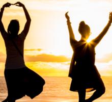 Sunset Yoga 2 in Pacific Beach CA Sticker
