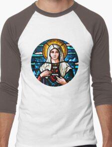 Stain Glass Mary Men's Baseball ¾ T-Shirt