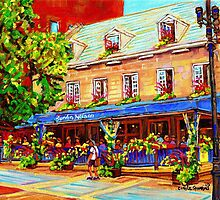 OLD MONTREAL OUTDOOR CAFES CANADIAN PAINTINGS BY CANADIAN ARTIST CAROLE SPANDAU by Carole  Spandau