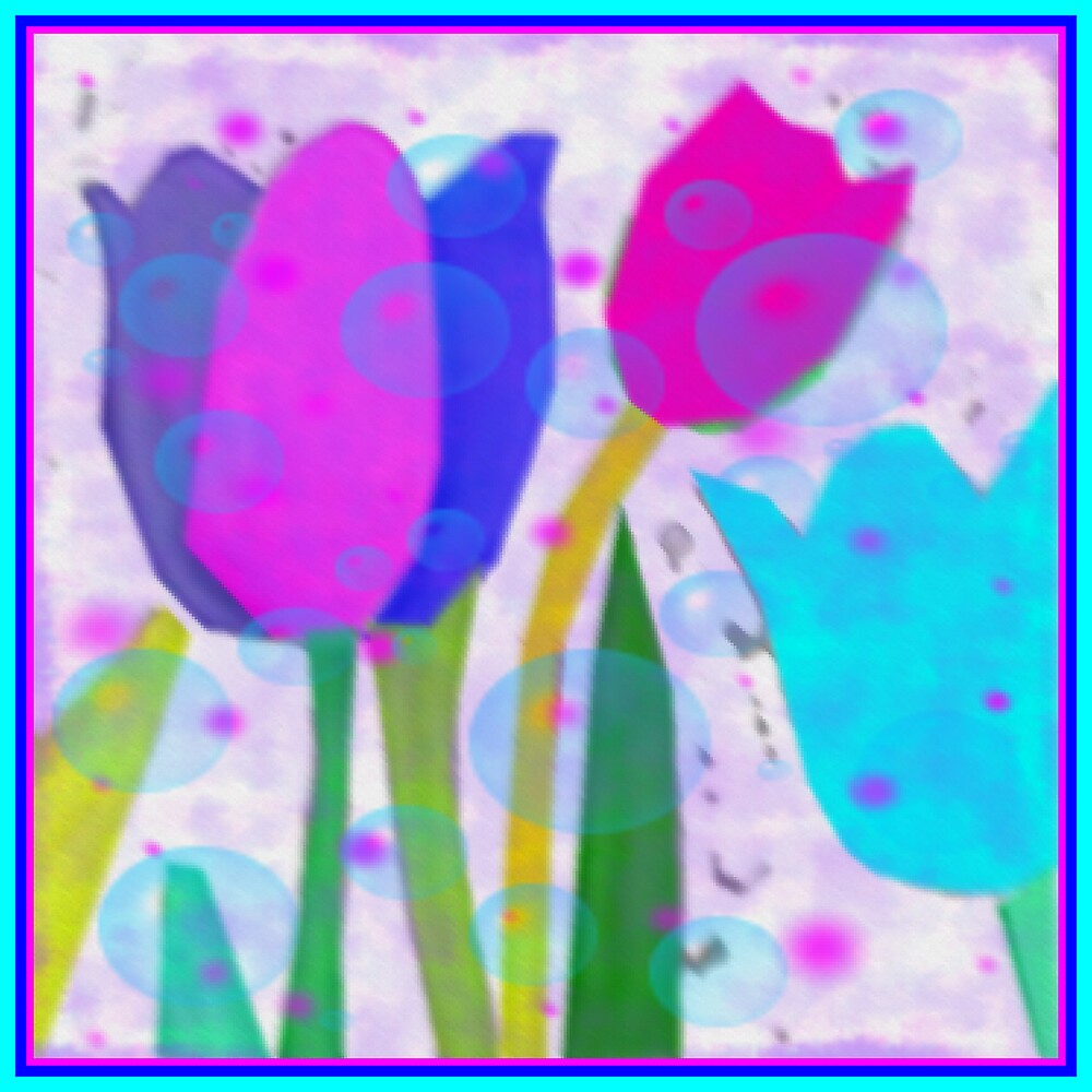 BLUE PINK TULIPS by juliecat