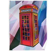 Pop Art Contemporary Artist Conqr Bright 3d digital vector london telephone booth landmark Poster