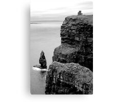 O'Briens Tower at the Cliffs of Moher, Ireland (b/w) Canvas Print