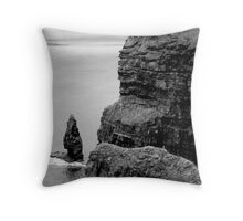 O'Briens Tower at the Cliffs of Moher, Ireland (b/w) Throw Pillow