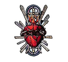 Stain Glass Sacred Heart 1 by BadBehaviour