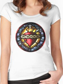 Stain Glass Sacred Heart 2 Women's Fitted Scoop T-Shirt