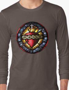 Stain Glass Sacred Heart 2 Long Sleeve T-Shirt