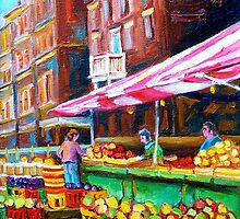 OUTDOOR MARKET DAY MONTREAL PAINTINGS OF CANADIAN CITIES BY CANADIAN ARTIST CAROLE SPANDAU by Carole  Spandau