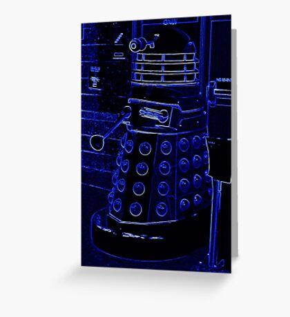 Neon Blue Dalek Greeting Card
