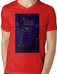 Neon Blue Dalek Mens V-Neck T-Shirt