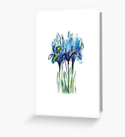 bouquet of blue irises, watercolor sketch Greeting Card