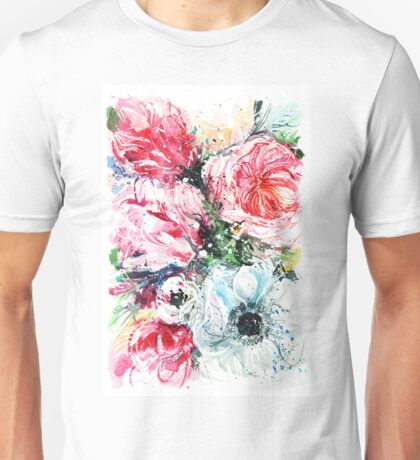 watercolor white poppies and tulips Unisex T-Shirt