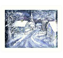 SNOWY VILLAGE CHRISTMAS SCENE Art Print