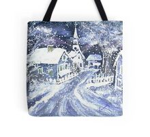 SNOWY VILLAGE CHRISTMAS SCENE Tote Bag