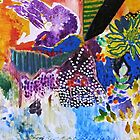 Purple and orange abstract zingy landscape in watercolour and acrylic by Susan Wellington